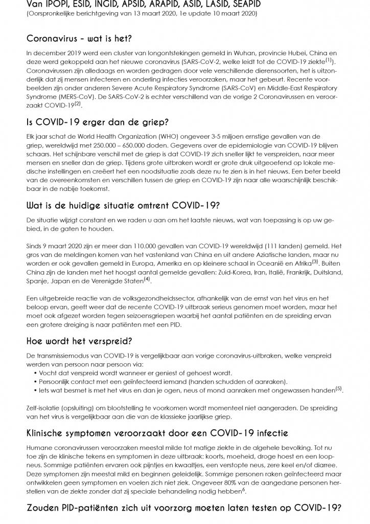 Stichting voor Afweerstoornissen Coronavirus